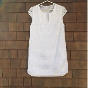J. Crew Triple Eyelet Shift Dress White S